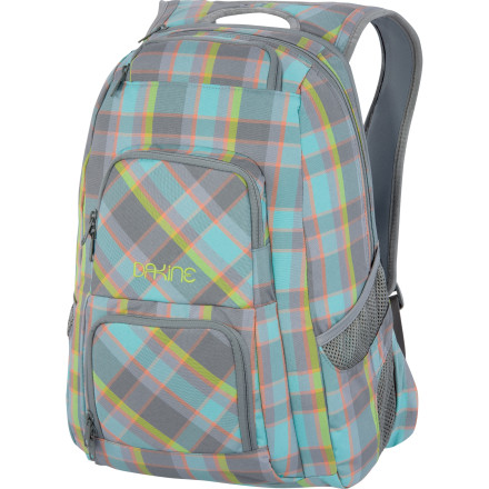 Camp and Hike With pockets for your sunglasses, cold drinks, laptop, and school goodies, the only thing missing from the DAKINE Women's Jewel Backpack is a quick-draw latte dispenser. Fit just about anything you'd need for a day at school or a long plane ride inside this pack and breeze through your day. - $48.97