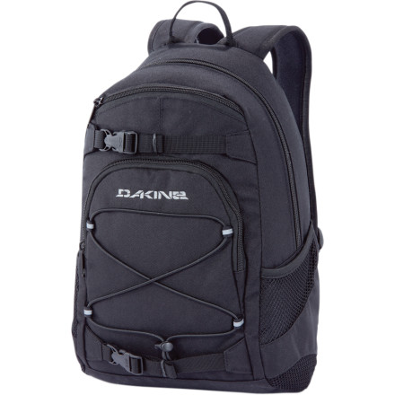 Snowboard Skate to school and easily carry your board in the hallway by attaching it to the back of the DAKINE Grom Backpack. With 13L of room you, have plenty of space to carry your books, notepads, pens, pencils, and other miscellaneous items. A zippered front pocket keeps your small essentials organized, while a bungee storage system holds your hoody or jacket. Reflective details let motorists know you're around when you skate to and from home, and mesh side pockets stash your water bottle. - $17.48