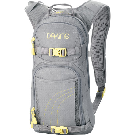 MTB The wind in your hair and putting your obligations behind you requires more than just you and your bike. Fortunately for you, the DAKINE Women's Session Hydration Pack features a women-specific contoured harness, a 70oz hydration reservoir, and a padded media pocket for tapping into your musical inspiration. Should things take a turn for the worse, the internal organizer pockets are perfect for holding repair kits and extra tubes. This low-profile pack also has a removable waist-belt for a more casual look. - $45.47