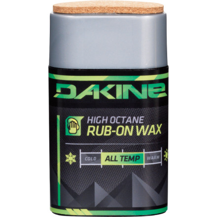Snowboard Too many tortillas and brewskis put you down for the count before you waxed your board last night Just whip out the DAKINE High Octane Rub On Wax and bust out a quick wax job in the parking lot. Rub in the all-temperature wax, buff it out using the attached cork, and slide at face-melting speeds. - $12.71