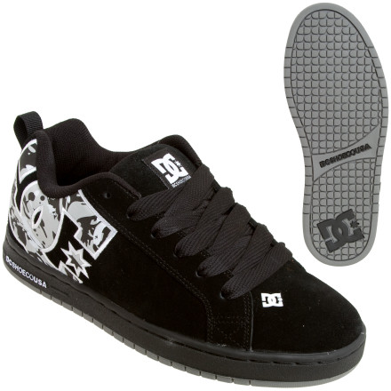 Skateboard The DC Shoes Men's Court Graffik SE Skate Shoe has a durable upper and grippy sole that stands up to session after session. The uppers are abrasion-resistant and the sticky, pill-patterned outsole flexes for excellent board feel. A padded tongue and collar lend you comfort and extra support. A DC graphic covers the ankle area. - $32.48