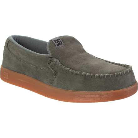 Skateboard DC made these moccasin-style shoes from plush suede and lined them with soft, breathable mesh for a not-so-evil feel. The Villain Shoe's hidden EVA midsole provides lightweight cushioning for skulking around town, and the trademark pill pattern sole gives you excellent traction. - $37.50
