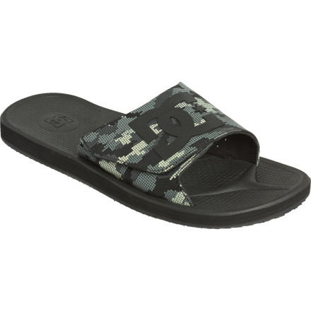 Entertainment DC gave the Men\222s GRFK Slide SN Flip Flop a high-traction, durable rubber sole and comfortable slide-on design so you can strut the streets like you\222re in an athletic shoe. Except it\222s way more comfy, \221cause hey\227it\222s a sandal. A wide top band with a bold DC logo amps up the sandal\222s skate style. - $28.00