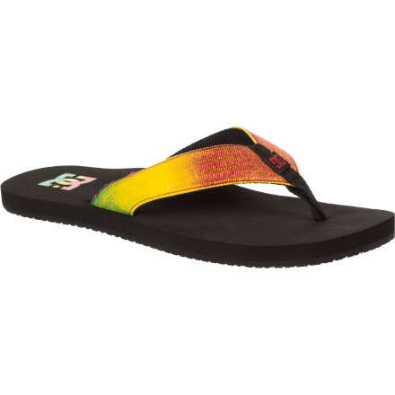 Entertainment The DC Men's Habit Flip Flop breaks up your daily routine of wearing shoes. DC made this relaxing flipper with high-density, non-slip rubber to complement your low-stress, swinging lifestyle. The mesh lined strap keeps your feet happy. - $18.00
