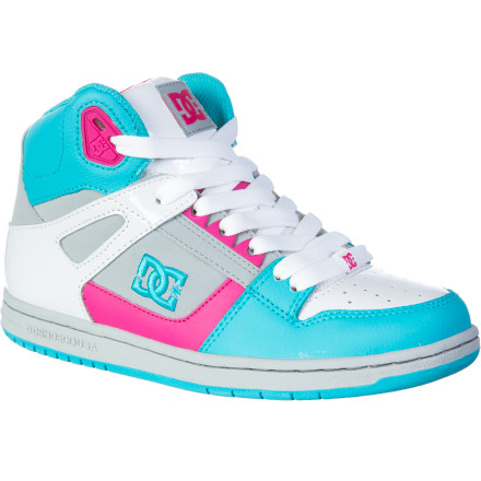 Skateboard Harken back to the glory days of Punky Brewster, high-top kicks, and side ponytails when you add the DC Women's Rebound Hi Skate Shoe to your collection. DC made these styled-out sneakers with pattered fabric inlays and neon colors for retro radness. Rock 'em with loose laces or tied up to the tip top. - $56.00