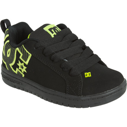 Skateboard The DC Boys' Court Graffik SE Skate Shoe gives up-and-coming skaters their own version of a classic DC profile. Flashy graphics and the abrasion-resistant rubber outsole keep these kicks fresh from the skatepark to the school hallways. - $36.00