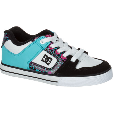 Skateboard Throw on the DC Girls' Pure Skate Shoe and show the world that you are all skate, all the time. The Pure is made of tough leather, and the suede and flaunts your tough style with snazzy colors and understated good looks. - $31.50