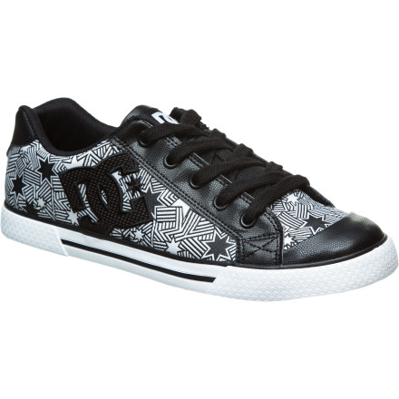 Skateboard Lace up the DC Womens Chelsea SE Skate Shoe and jump on your longboard. The Chelsea SE features hot new upper patterns and a comfortable design built for women who arent afraid to have fun with the boys. The Chelsea SEs synthetic leather and textile upper is durable enough to keep you worry free when youre skating, thrashing at a concert, or getting loose at your favorite dive. Foam padding on the tongue and collar add support, and classic vulcanized construction improves grip and adds a touch of skate style. DC even constructed the outsole from recycled rubber, so you can feel more environmentally conscious when youre using hairspray to get your bangs just right for 80s night. - $39.00