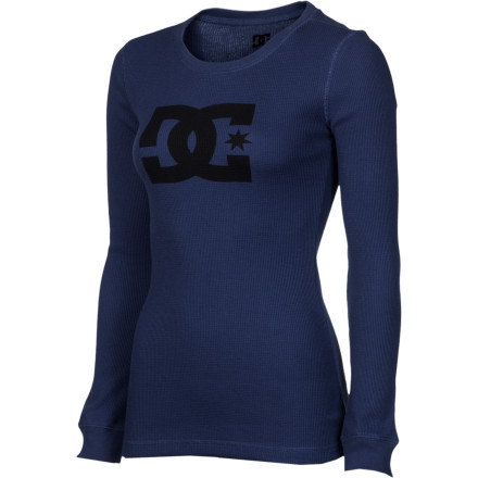 Pour yourself a hot beverage and head out to the porch to enjoy a crisp fall sunrise while the DC Women's Tstar Thermal T-Shirt keeps you toasty warm. Like that extra little nip you added to your steaming cup, this polyester and cotton long-sleeve top takes the bite out of chilly weather and leaves you feeling right as rain. - $32.40