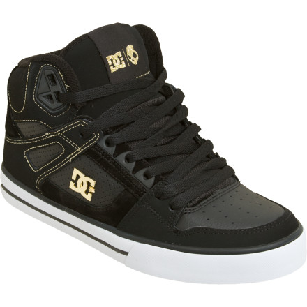 Skateboard DC's Spartan Hi WC SK Skate Shoes deliver an awesome blend of board feel and ankle support. Spandex tongue holders ensure a dialed fit with or without the top half laced, while the vulcanized rubber soles offer reliable grip without bulk. - $60.00