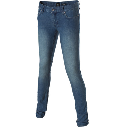 Bust a move on the dance floor when you wear the DC Women's Skinny Denim Pant. For weeks you've been secretly taking hip hop classes, ever since some chick told you had no rhythm at the club. But now you can actually dance to the beat instead of just jumping up and down in these super sweet skinny-fit jeans. - $23.78