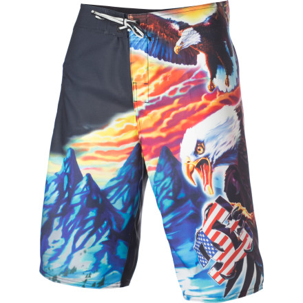 Surf Sweet sunsets, mountain vistas, and kickass eagles are what America is all about, so sport the stretchy DC Men's Truckstop Board Short when you take part in your most basic constitutional rights: surfing and partying. - $27.00