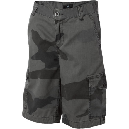 Motorsports From school days to summer vacation, the DC Boys' Barricade Short features a comfortable blend of polyester and cotton that reduces shrinkage after washes and promotes quicker drying. - $26.40