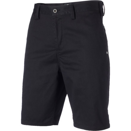 Skateboard A slim-ish fit means the legs of the DC Men's Straight Chino Short won't flap in the wind when you rocket across campus on the longboard or cruise around town on the fixie in search of the best bar deals. - $29.25