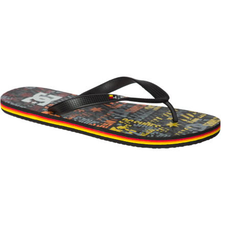 Surf Don't be fooled into grabbing those all-rubber flips from the grocery store. Those things suck. The DC Spray Graffik Flip-Flops use soft rubber that actually feels comfortable and that won't take forever to dry during pool parties, beach bonfires, and midnight hot-tub runs. - $12.00