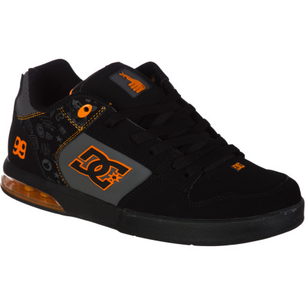 Skateboard Whether on two wheels or four, Travis Pastrana always brings the noise. Fitting that DC named his signature-model action-sports shoe the Racket. - $59.50
