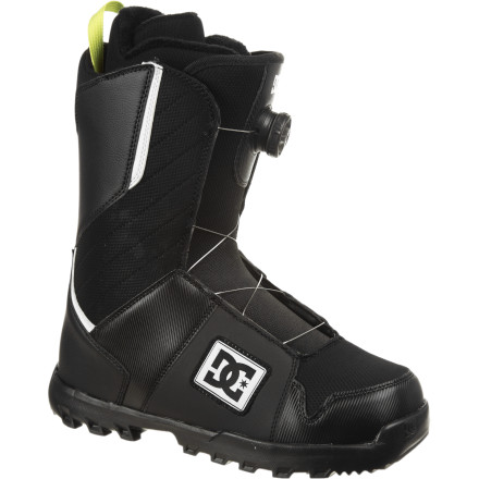 Snowboard The DC Scout Boa Snowboard Boot offers next-level convenience and comfy fit out of the box thanks to a cushy Command liner and a Boa Coiler speed-lace system. Get booted up faster than ever and be the first one lined up for the chair on those epically deep days, or just kick back and loosen your boots at lunch without having to spend 10 minutes getting them tight again. - $108.00