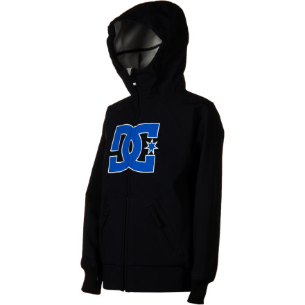 Snowboard From a distance, The DC Boys' Spectrum Softshell Jacket looks like just another hoodie. But with a 10K-rated softshell fabric and waist and wrist gaiters, the Spectrum leaves other hoodies in the slush on its way to the top of the mountain. - $45.50