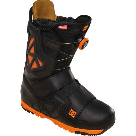 Snowboard The boot of choice for Travis Rice, the DC Status Boa Boot gives you the support you need for going big all season long. With the in-and-out convenience of Boa technology, a stiff flex, and Aerotech ventilation, this boot was born to spend long days in the backcountry. - $210.00