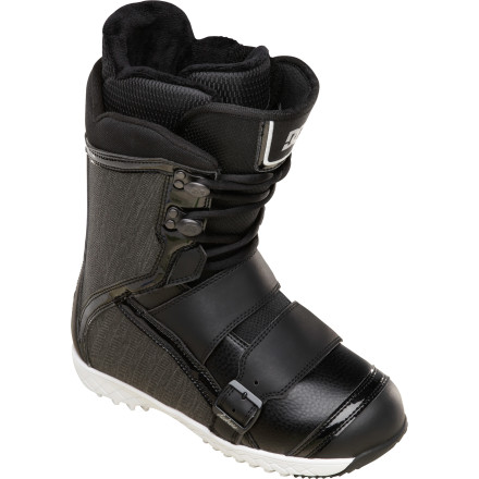 Snowboard The DC Sweep Women's Snowboard Boot features the Constrictor Hybrid closure system, which uses Boa coils in the forefoot to keep your heel locked down, and traditional lacing in the upper so you can rock them tight when charging steeps and loose in the park for maximum tweakage. - $120.00