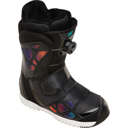 Snowboard If you ride a lotta-bit of everything, you want the all-mountain versatility of the DC Mora Women's Snowboard Boot. The Constrictor closure system uses dual Boa coils to provide a firm-yet-comfortable lock around your foot, improving control and feel while reducing fatigue caused by heel lift, and the 3D tongue and articulated cuff give it the flex you need to tweak your tricks in the park. - $150.00
