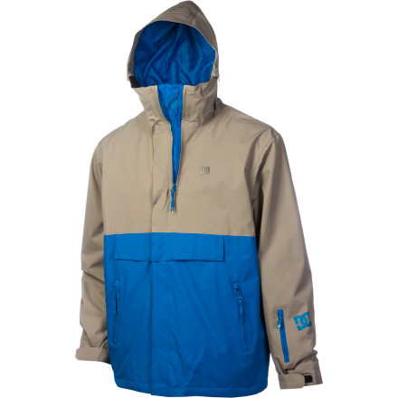 Snowboard The DC Paoli 13 Men's Snowboard Jacket may look like a pullover anorak, but underneath the storm flap is a full-length zipper for easy access. The Paoli is also hiding a built-in bandana in the back of the neck that can be pulled out when the wind is whipping at your face, and you can zip the collar all the way up without fear of fogging up your goggles thanks to DC's respirator breathing system that vents air away from your mouth out the sides of your jacket so you can stay all the way bundled up on blustery days. - $85.50