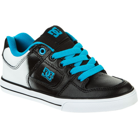 Skateboard The DC Pure SE Boys' Skate Shoe is purely designed for skateboarding. It has a tough nubuck and leather upper with a toecap overlay for extra durability, and sticky rubber sole provides excellent grip for crispy kickflips and stomped ollies. - $30.00