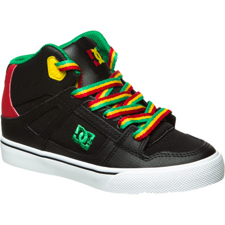 Skateboard The DC Spartan High Boys' Skate Shoe will help him attack the skatepark. The Sticky Rubber outsole provides grip for stomping those kickflips, and vulc construction allows for better board feel so he can be in complete control. - $42.50