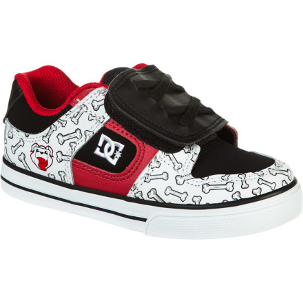Skateboard DC partnered up with Rob Dyrdek's show Wild Grinders to design the Pure WG Boys' Skate Shoe with your favorite characters from the show right on your kicks. The sticky rubber outsole provides traction to help you get your grind on, and the comfy padded collar provides support when you're out kickflipping stair sets. - $24.05