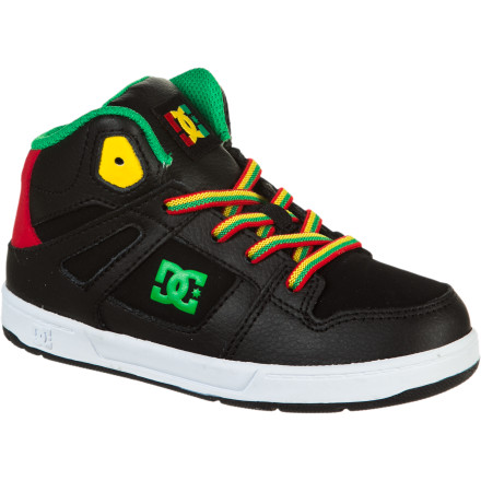 Skateboard Get your little guy hyped on high-tops with the DC Rebound Toddler Boys' Skate Shoe. The high padded collar helps prevent rolled ankles when he starts learning how to skate and the sticky rubber sole helps him keep his footing. - $23.40