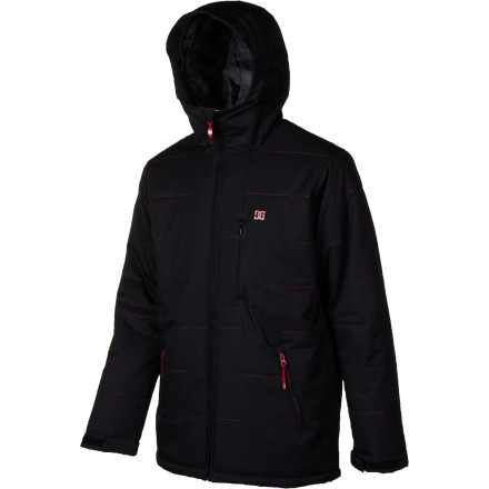 Snowboard Whether it's poaching roped-off pow lines or holding it down in the park in sub-zero temps, the DC Leader Insulated Jacket leads the way with warm style for the coldest days. 200g fill and adequate 5K waterproofing will keep you comfortable during all that ducking and hucking. - $80.00