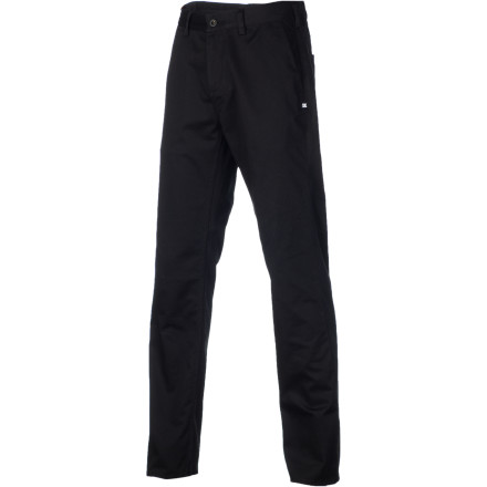 After experimenting with XXL sweatpants and girls' skinny jeans, you've come to realize that nothing beats a classic fitting pant. The DC Straight Worker Men's Pant has a straight leg and spandex woven into the fabric so you can move freely and comfortably, and provides a timeless look that works whether you're at the skatepark or out on a date. - $48.00
