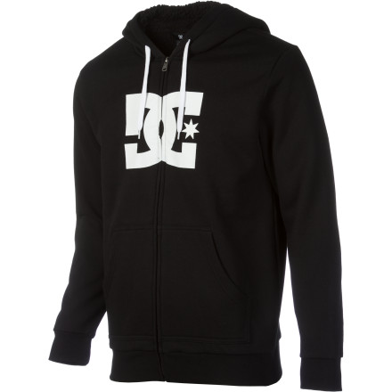 When winter's cold breath tries to blow out your flame, keep calm and shine on with the superior warmth of the DC Star Shearling Full-Zip Hoodie. - $35.70