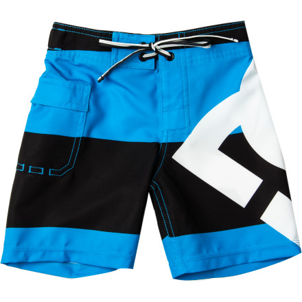 Surf With his first swim lesson coming up, get him something simple and practical with the DC Lanai Little Boys' Board Short. Its four-way stretch fabric allows freedom of movement for learning how to kick in the water, and it dries quickly so he won't be shivering on the side of the pool. - $40.00