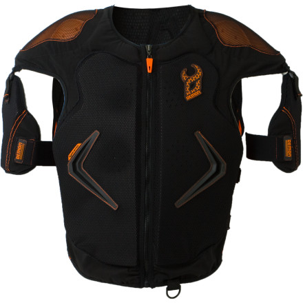 Snowboard Not all protective vests are created equal. The Demon Hyper Vest D3o Body Armor slays the competition thanks to the revolutionary D3o material in the shoulder pads that let the Hyper Vest to remain flexible when you're riding, but hardens to protect upon impact. - $199.95