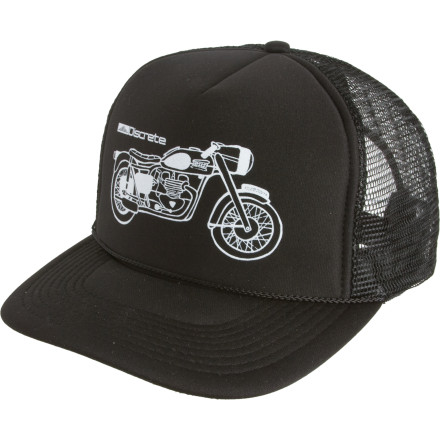 Woooooo-EEE! The Discrete Moto Trucker Hat would LOVE to go blow up an old 'fridge using only a container of thermite and a couple matches. Just toss on this comfy lid, pack that appliance full of the hot-and-explody-stuff, and try not to light your mullet on fire. - $12.97