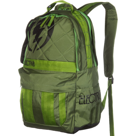 Camp and Hike Like your daddys gun, caliber makes all the difference, so load your gear in the Electric Caliber Backpack. The padded internal laptop pocket protects your important electronics. The roomy main compartment has plenty of space for books or whatever you need to haul, and the durable polyester material can handle your rough n tumble lifestyle. - $34.97