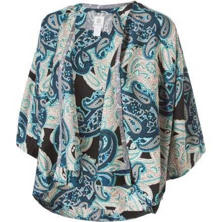 Skateboard Slip into the kimono-style Element Poppins Top and go fly a kite. Wear this woven polyester top open like a light, dolman-sleeved jacket, or wrap it closed and secure it with a cute belt. - $22.23