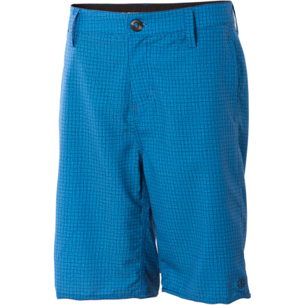 Skateboard Element's Boys' Grid Hybrid Short makes the daily commute to the skate park even more stylish. Polyester two-way stretch fabric means the Grid Hybrid Short is comfortable and conducive to athletic moves, but street-smart styling means it's just as at home at the after-party. - $19.78