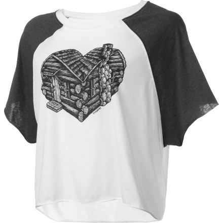 Skateboard The Element Women's Heart Cabin Raglan Short-Sleeve Shirt, with its sugary sweet screen print, will warm your heart, and make you feel like you're at home and happy. This top is the clothing equivalent of homemade chocolate-chip cookies and milk. - $13.98