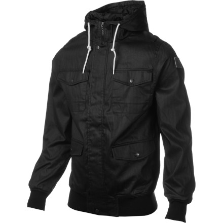 Skateboard When the sky looks cloudy, but you aren't going to let a raincoat spoil your around-town swag, zip up in the Element Rainer Jacket. You'll get a look that is dialed for dinners out and happy hour drinks, and you'll stay dry if a little rain starts falling. - $59.98