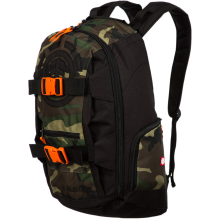 Skateboard According to social stigmas, skaters are criminals. The Element Mohave Camo Backpack features a camo and plaid color scheme for when you need to duck behind the bushes long enough to let the heat blow over. Just remember that there are contrast orange buckles on it too. - $54.45