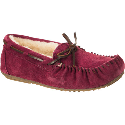Entertainment You'll be brimming over with happy feelings of goodwill when you slip your feet into the EMU Women's Amity Slipper. Offering cute, classic lace moccasin style on the outside and cozy sheepskin on the inside, the Amity is a natural mood-enhancer that just might take us one step closer to world peace. - $55.27