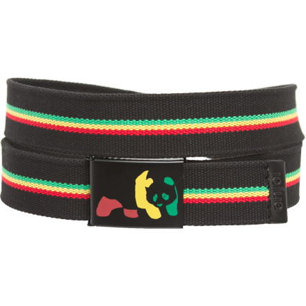 What's black-and-red-and-yellow-and-green-and-black all over Why the Enjoi Rasta Panda Web Belt of course! This cleverly colored belt even helps fight the effects of gravity on your pants at no extra chargezowwweeeee! - $19.95