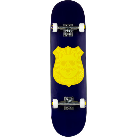 Skateboard Everyone at the park will respect your authority when you're riding the Enjoi Pig Badge Complete Skateboard. The deep concave keeps your deck solidly under your feet and Resin-7 construction retains pop for much longer, so you can't blame your bad days on your deck anymore. - $79.96
