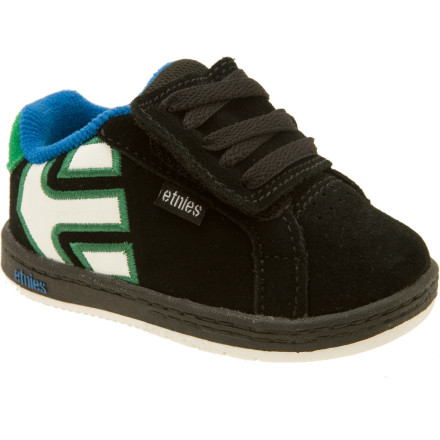Skateboard Before he or she picks up a board, make sure your little one is quick on the feet in the Etnies Toddlers\222 Fader Skate Shoe. The first few thousand steps a child takes establish a sense of balance and love of exercise that will continue through adolescence. Etnies \223Grow with Me\224 fit system includes a 1.5mm insert that can be removed as the child\222s feet grow to prolong the shoe\222s life. - $27.96