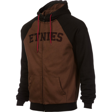 Skateboard Straight-up, a hoodie is meant to keep you warm and comfortable, no jewels, no mink-fur. The etnies Men's Glasgow Repel Full-Zip Hoodie is made of easy-care cotton-poly blend, treated with water-repellent finish, and lined with supersoft fleece, so it does its job whether you're kicking it inside or hoofing it through the woods. Needs: satisfied. - $53.97