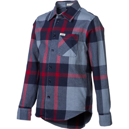 Snowboard The Etnies Chi Town Boys' Flannel Shirt features a STI Repel treatment to help it shed light moisture so he can stay dry whether he's walking to school during a fall flurry or snowboarding on a slushy spring day. - $27.47