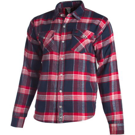 Skateboard Random numbers, loose change, habit money, juice boxes, photos of naked ex-girlfriends, music, phone, shades, bags o' shake... it all goes in the Fallen Men's Cheyenne LTD Flannel Shirt. - $29.97