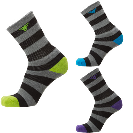 Skateboard Some things are better with stripes. Like zebras, sweaters, and the Fallen Trademark Striped Sock 3-pack. - $14.21